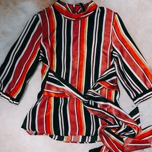 Zara Multicolor Striped Wrap Blouse